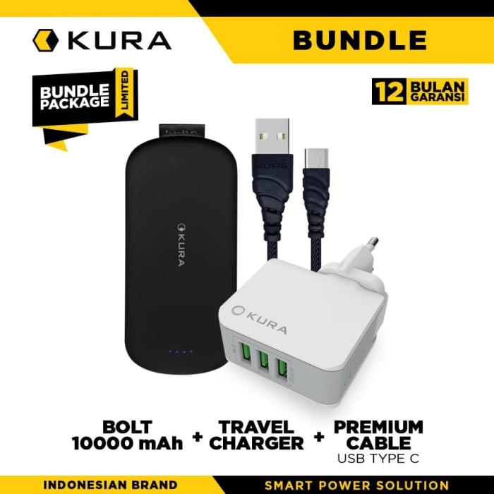 bundle kura bolt 10000 + travel charger + premium cable usb type c - hitam