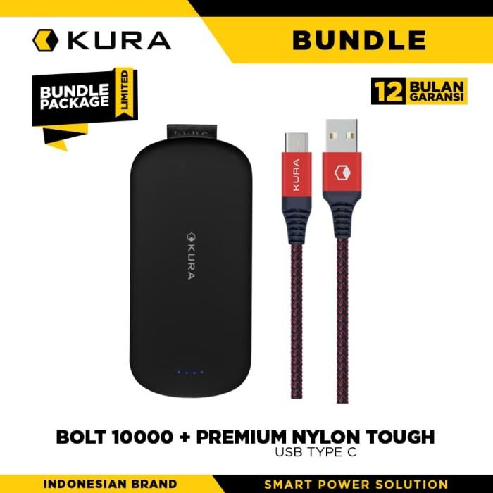 bundle kura bolt 10000 mah + premium nylon tough cable usb type c - putih