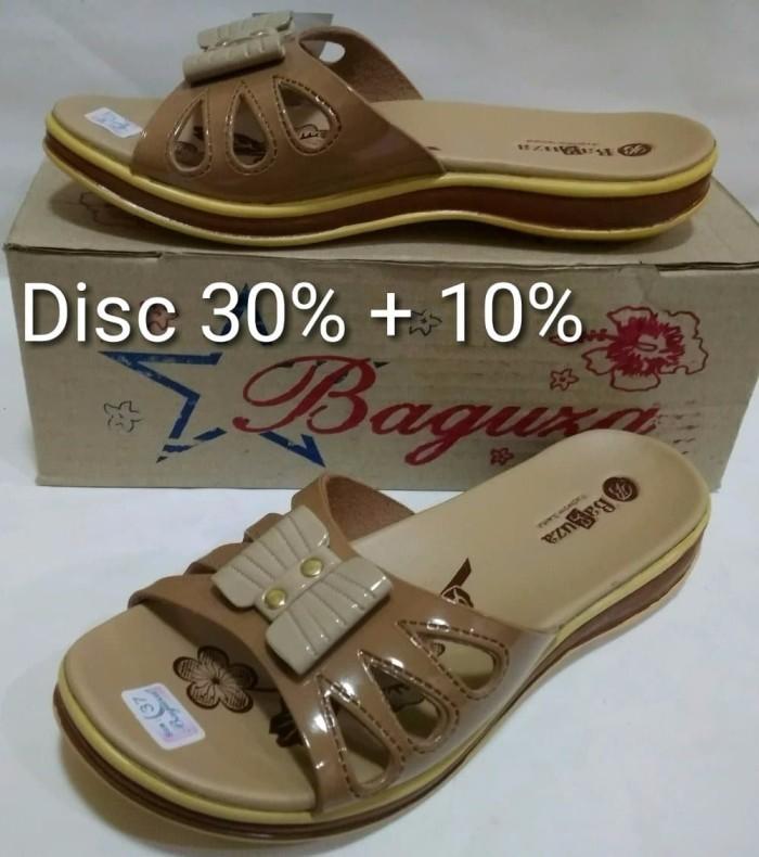 Jual Sandal Flat Kulit Model Sandal Wanita Fladeo Merk Baguza Coklat ... 374598ce31