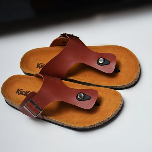 sandal / sendal fashion pria handmade model brikenstock/birkenstock,40 - Hitam