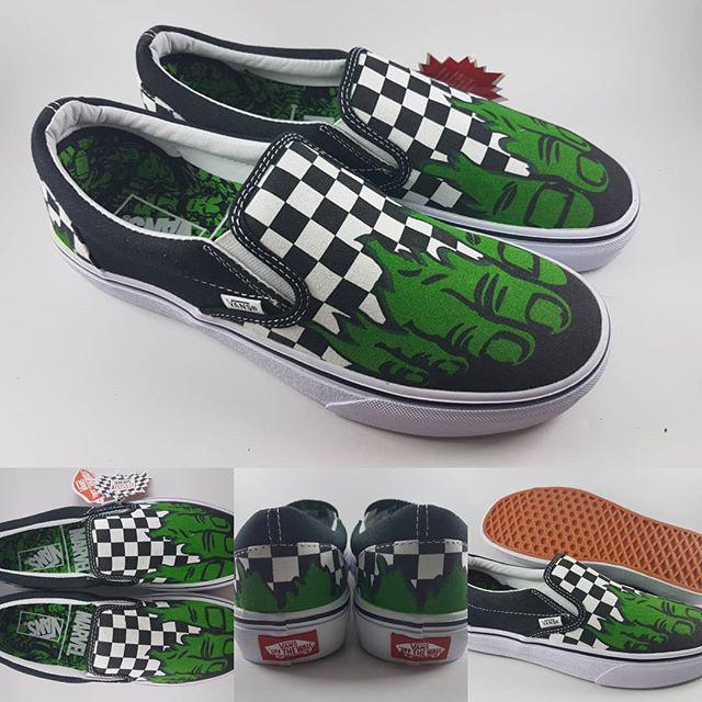 Jual Sepatu Kets Vans X Marvel Slip On Hulk Checkerboard Black White ... 8532de3337