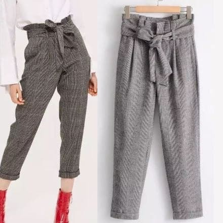 Jual Import Chino Pants Celana Wanita Kotak Grid Bahan Katun Formal