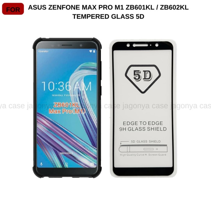 Tempered Glass 5D Asus Zenfone Max Pro M1 ZB601KL Full Cover Ambigo - Hitam