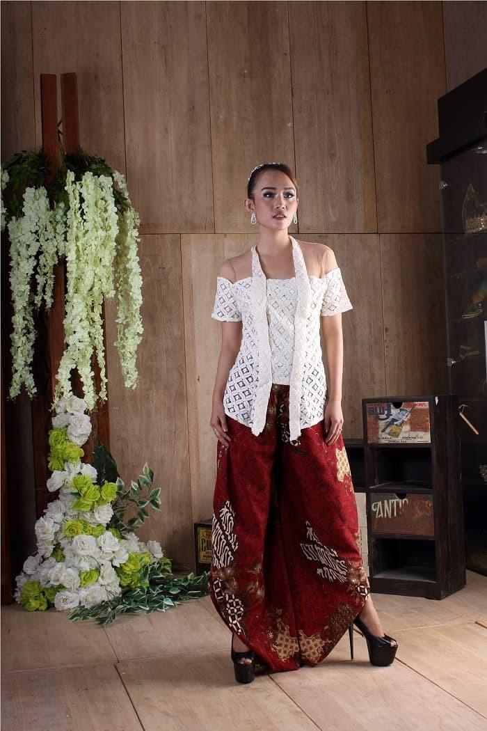 Jual Rok Setelan Kebaya Batik Bawahan Batik Celana Sandwash Merah