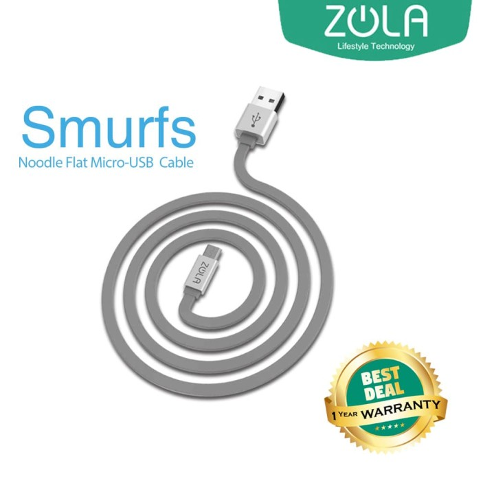 zola international smurfs kabel data & charging - grey