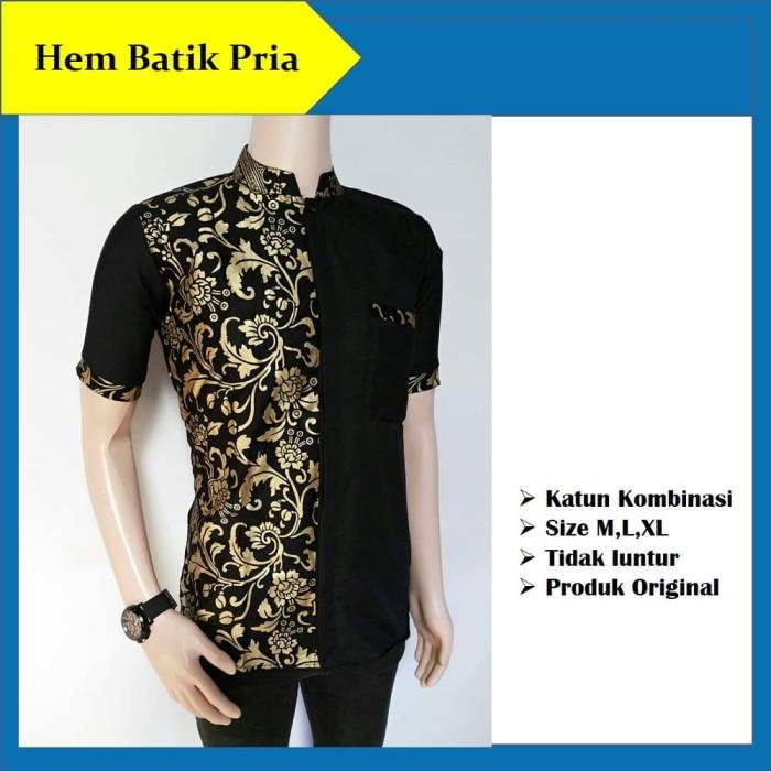 Hem Batik Pria Kombinasi Kemeja Batik Seragam Kantor Baju Kerja Modern -  Hitam 3fb3d267da