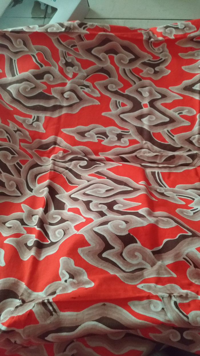 Jual Kain Batik Mega Mendung Coklat Orange Kota Tangerang Toko Cici Iona