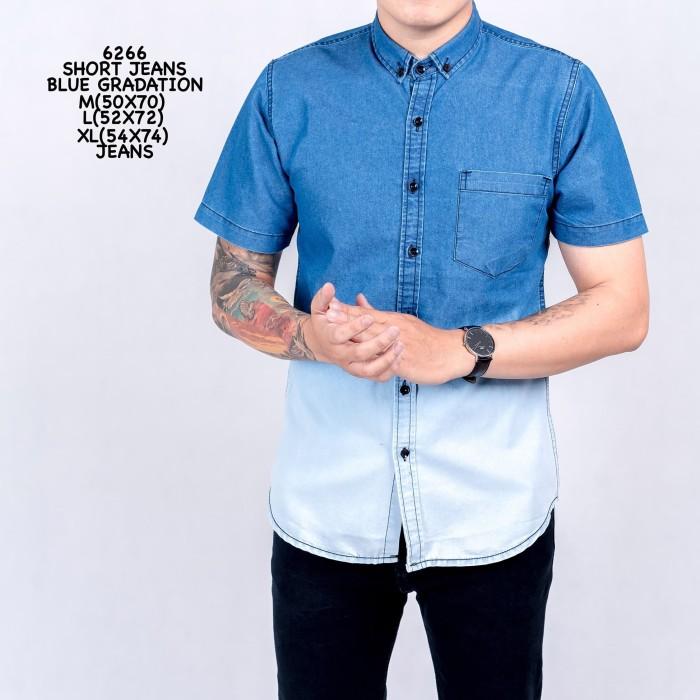 Short Jeans Blue Gradation 6266/kemeja pendek jeans/kemeja denim cowok