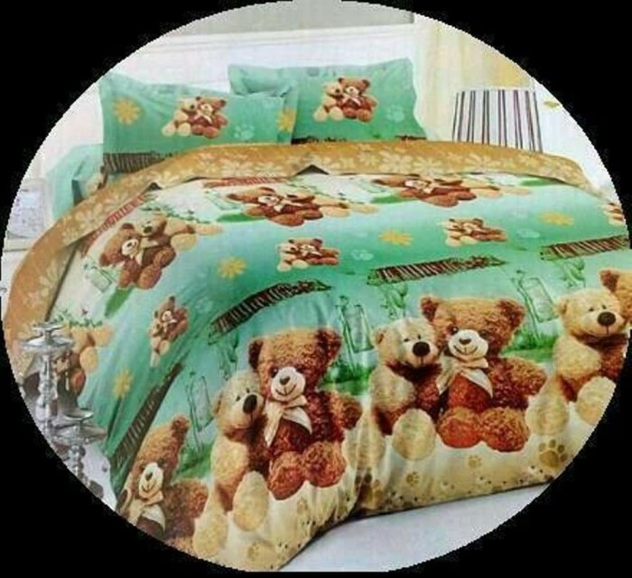 Bedcover set katun jepang 180x200 beruang teddy bear