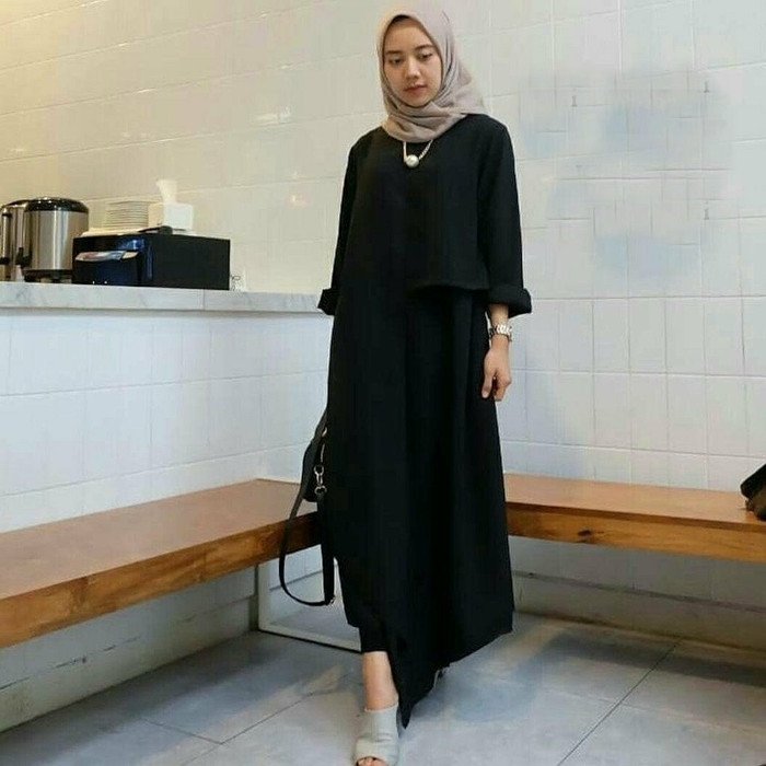 Tunik aretha hitam busana muslim wanita remaja baju atasan za dress Tz