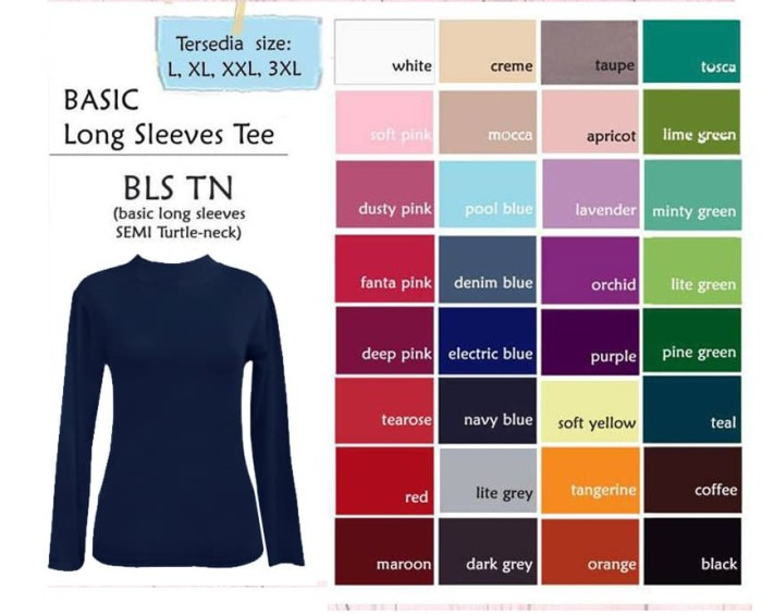 Foto Produk Basic Long Sleeves sedia size L, XL, XXL, jumbo 3XL. Turtle-neck - L dari Maxlane Butik