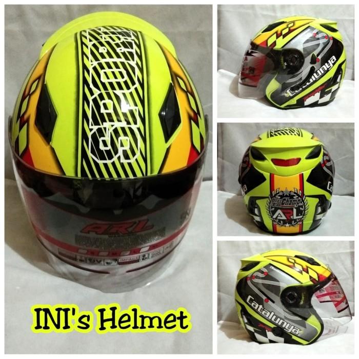 Helm Half face SNI ARL centro double visor dan ada slot anti maling.