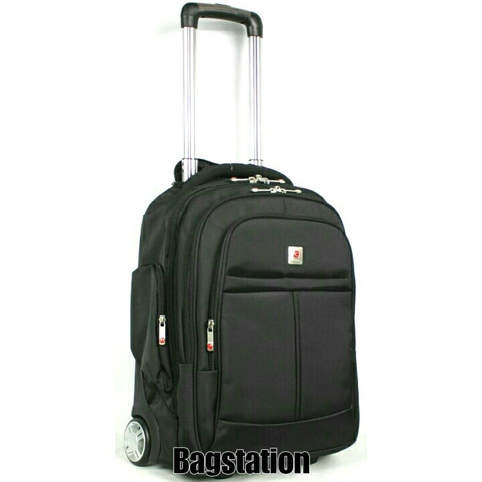 TAS RANSEL LAPTOP BACKPACK TROLI TROLLEY POLO CLASSIC ORIGINAL IMPORT -  Hitam a201bee72fc97