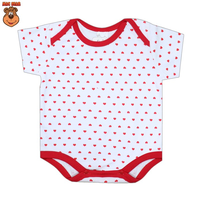 bt1-1806 macbaby baju anak romper love baby - 9-12 bulan merah