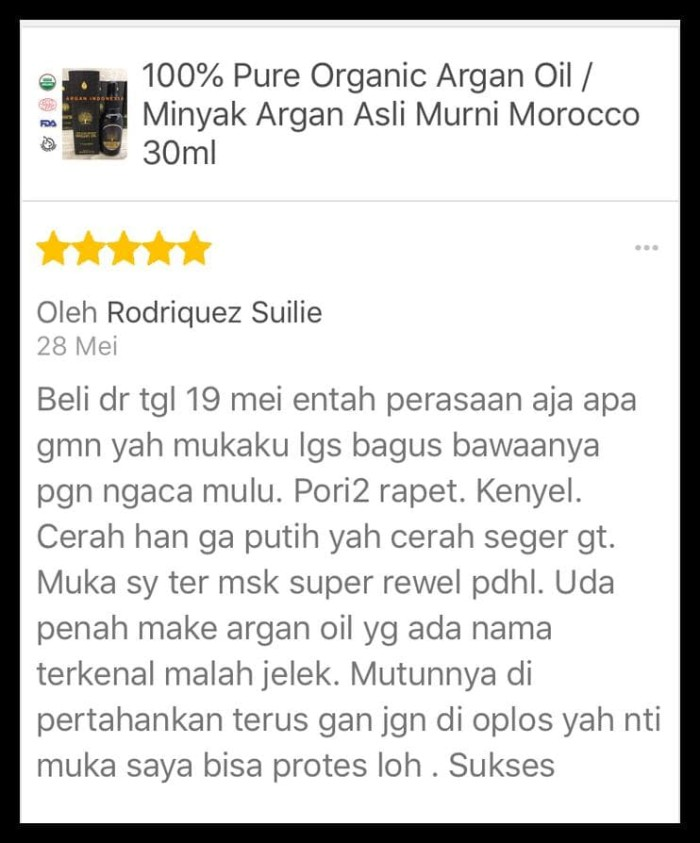100% Pure Organic Argan Oil / Minyak Argan Asli Murni Morocco 30Ml