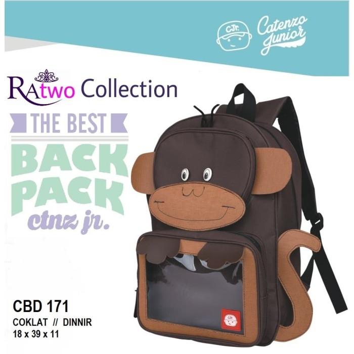 Tas Ransel Anak Laki-Laki / Backpack Sekolah TK SD Cowok Monkey Coklat .