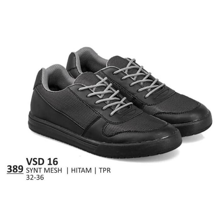 Sepatu Sekolah Anak Laki Perempuan Hitam Polos Sneakers Bertali Cowok