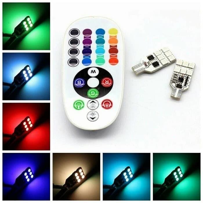 harga Lampu t10 12 led aksesoris mobil & motor nmax + remote kontrol rgb 5w Tokopedia.com