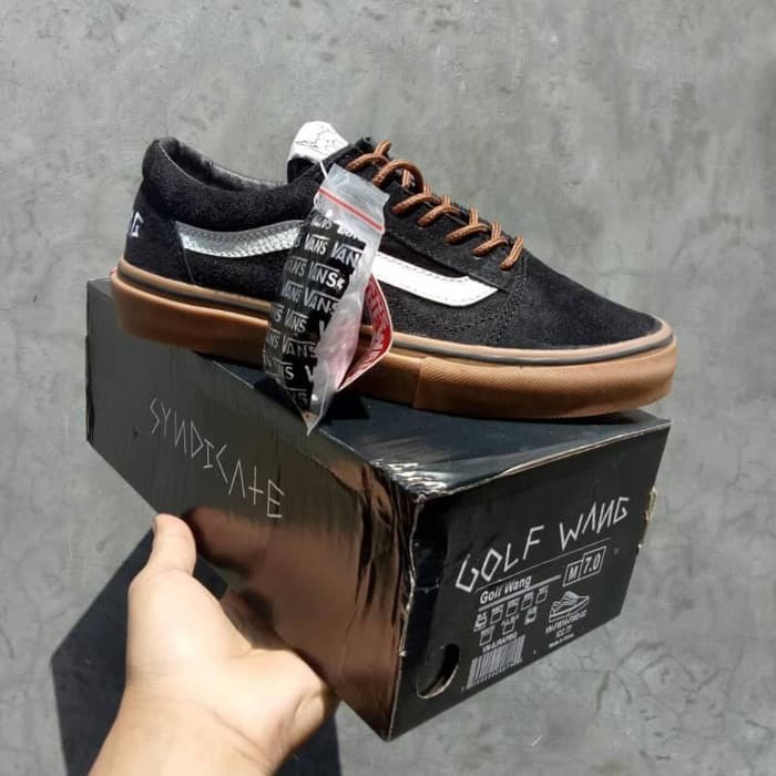 Jual Sepatu Vans Old Skool Pro Syndicate Golf Wang Black White Sole ... 73455aa287