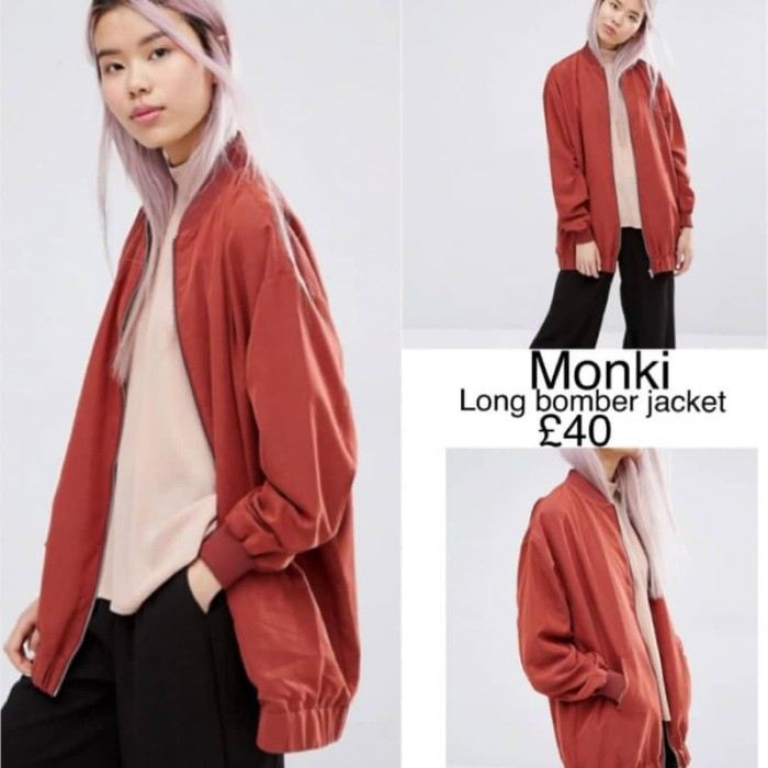 K960 monki long bomber brick jacket