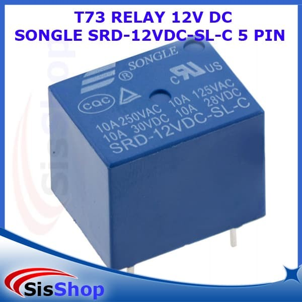 T73 RELAY 12V DC SONGLE SRD-12VDC-SL-C 5 PIN DC CONTROL COIL