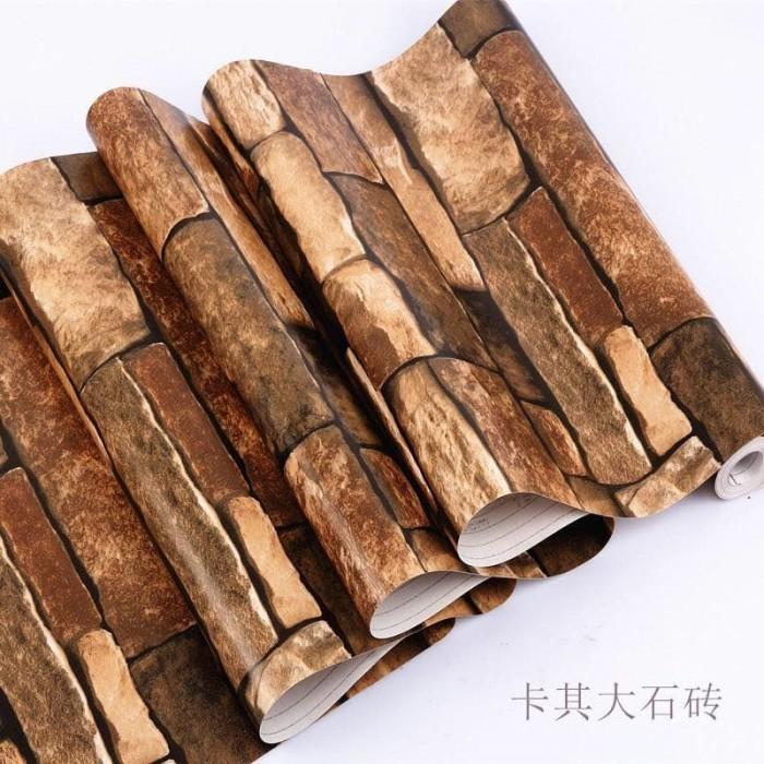 WALPAPER STIKER DINDING 45cm x10m MOTIF TERBARU. Source · Wallpaper Motif Batu bata coklat PVC - (Size 45cmX10m)