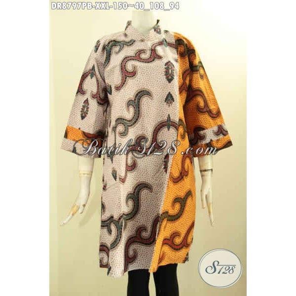 Jual Model Dress Batik Kerja Bagus Wanita Gemuk Kekinian Size Xxl
