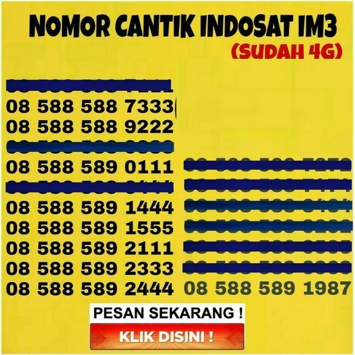 Kartu Perdana Nomor Cantik Indosat IM3 No Telkomsel XL Simpati AS AXIS