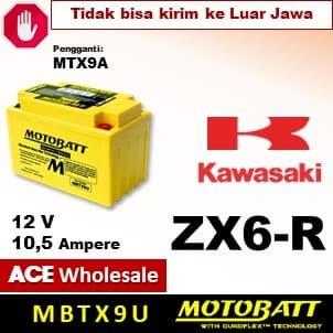 Jual Aki Ninja ZX6-R, Kawasaki, MOTOBATT, MBTX9U, aki kering ZX6R - Kota  Depok - ACE Wholesale | Tokopedia