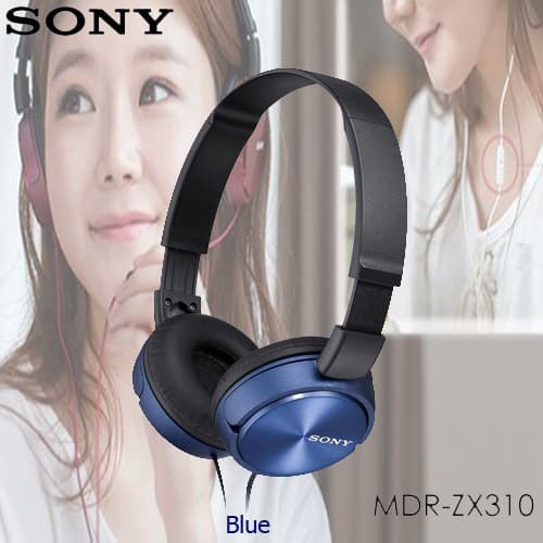 sony mdr-zx310ap overbands headset - blue