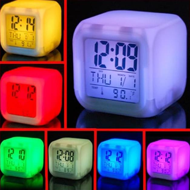 TERBARU Jam meja Kotak LED Color Change Digital Alarm Clock Moodicare 603517fe3d