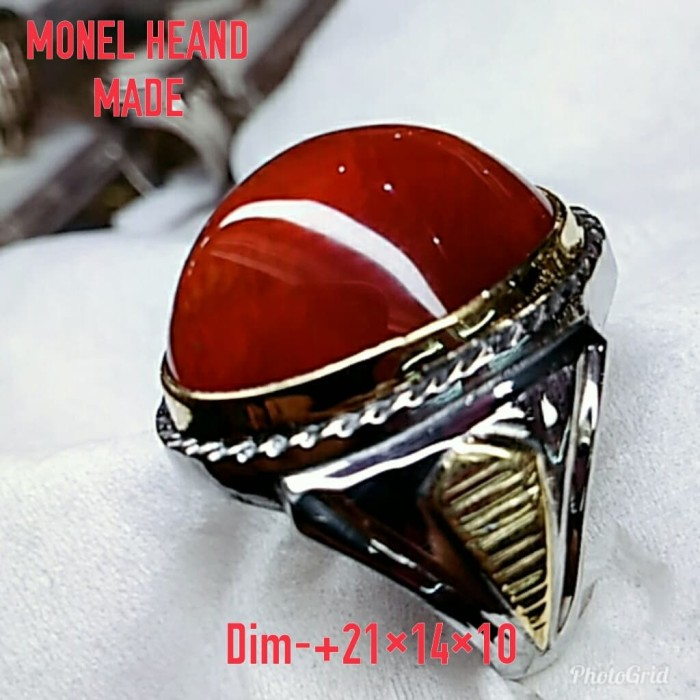 harga Natural batu akik pandan merah/cincin mewah monel heand made pesanan Tokopedia.com