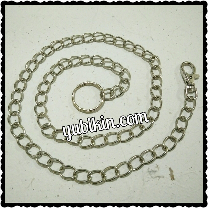 Foto Produk 1 Pc Rantai Dompet Celana Besi Silver 70cm + Ring + Kaitan Murah dari Yubikin Craft