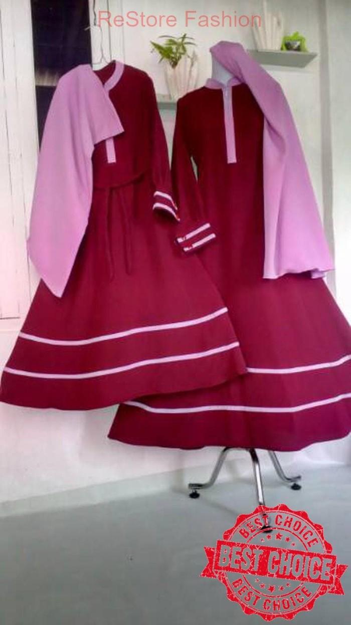 Set Gamis Couple Ibu Anak Abu-abu Kombinasi Dusty Pink Murah Terbaru