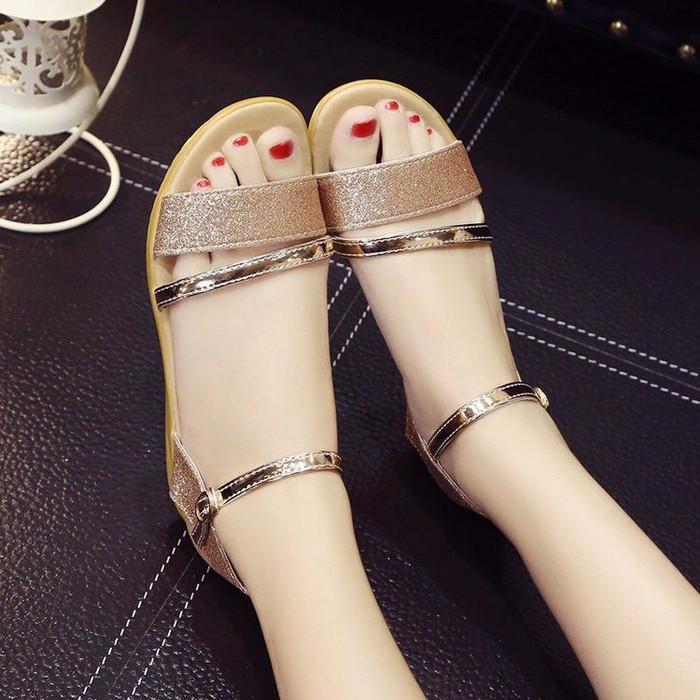 Foto Produk Sandal Wanita Slop Gliter SDL91 Rose Gold - 37 dari CAFANA STORE