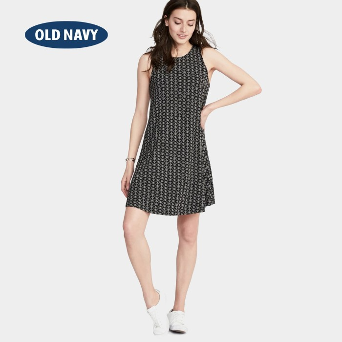 007d0320bf7a4 Jual Old Navy Jersey-Knit Sleeveless Swing Dress - Black Geo, XS ...