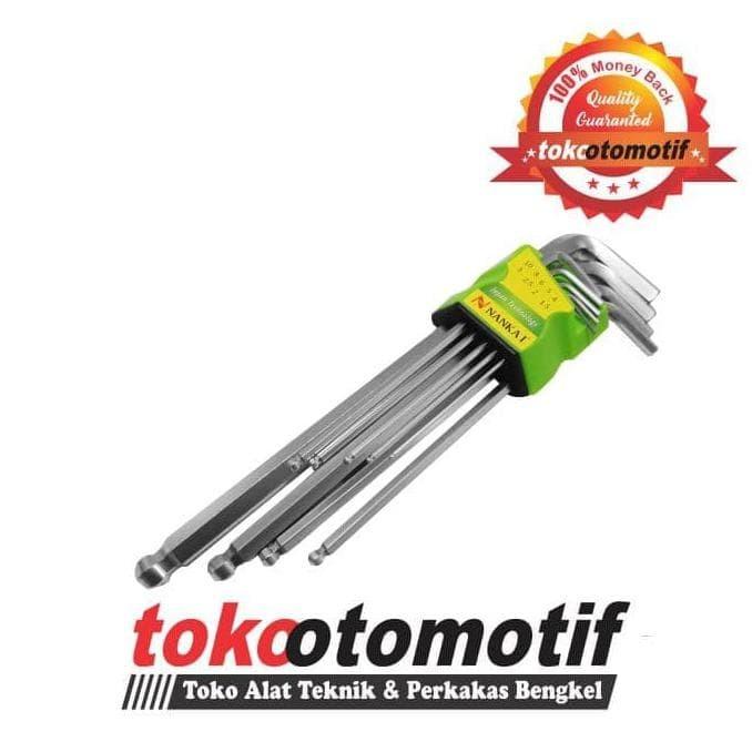 Kunci L Set Ballpoint Panjang 9 pcs 1.5-10 mm NANKAI / Long Hex Key