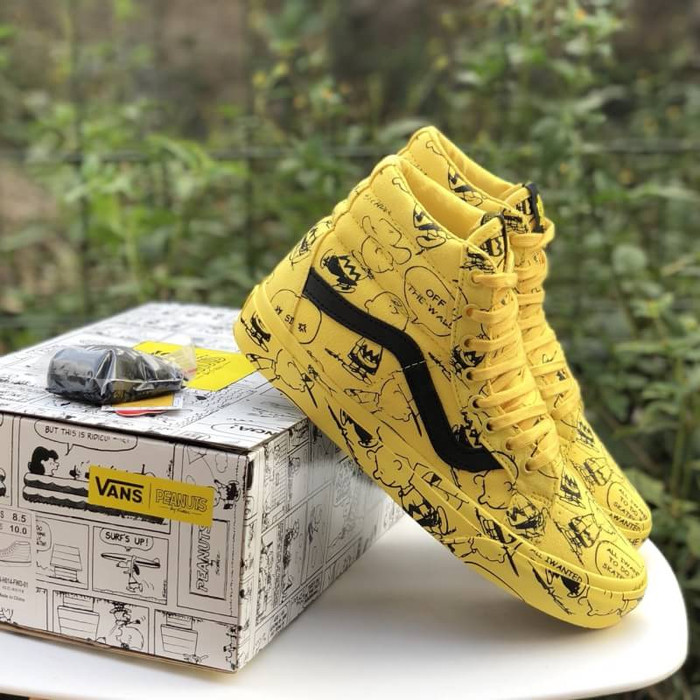2eadd32301 Jual Sepatu Vans SK8 HI Reissue x PEANUTS Charlie Brown Maize Yellow ...