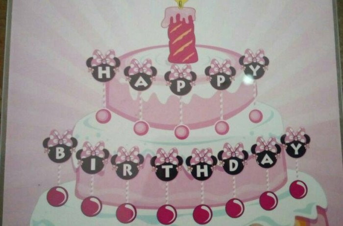 minnie mouse pink cake topper happy birthday