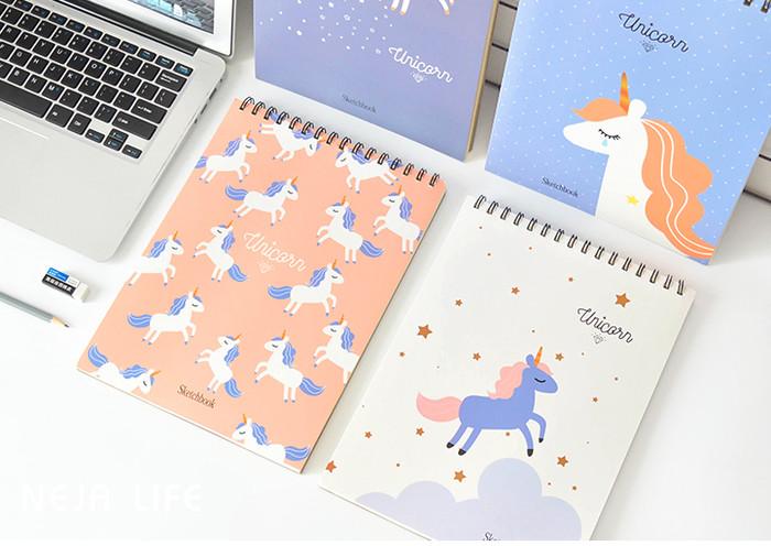 Jual Buku Gambar Sketsa Tebal Tema Unicorn Aneka Warna Lucu Murah