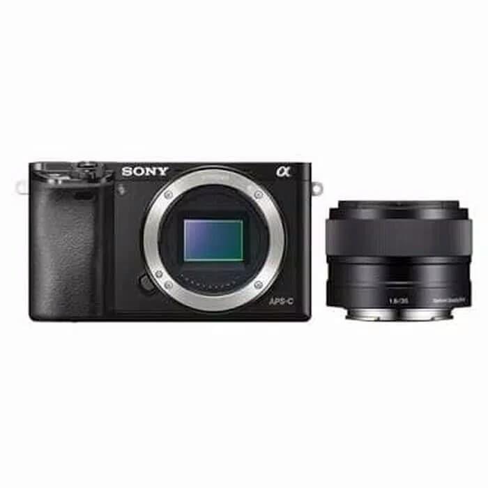 harga Sony alpha 6000 body only & lens sony e 35mm f/1.8 oss resmi sony Tokopedia.com
