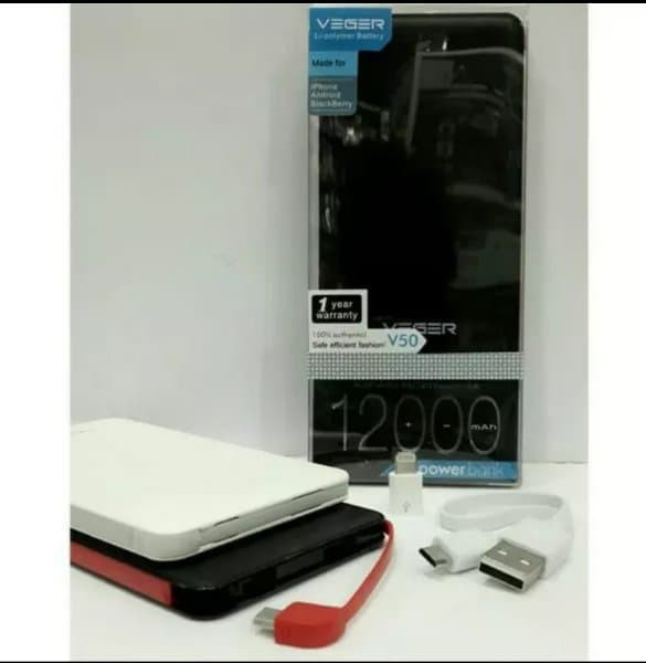 POWER BANK SLIM VEGER V50 12000mAh ORIGINAL REAL CAPACITY