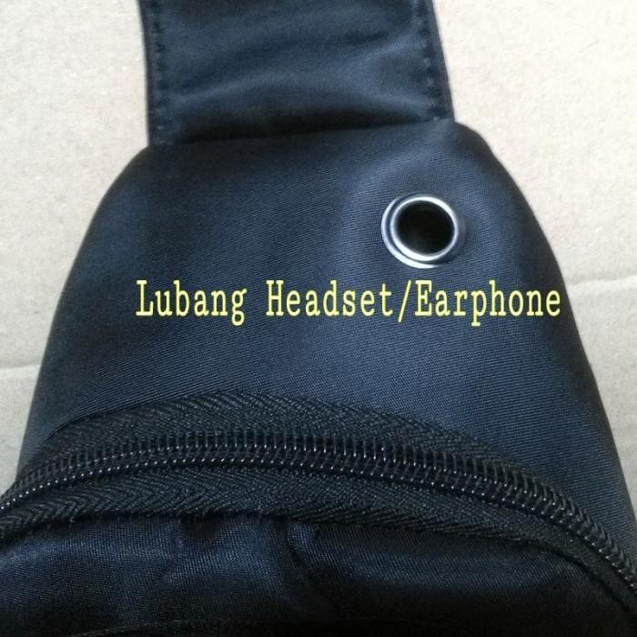 Tas Slempang import POLO SUPER With USB Port - SlingBag Pria Original -  Hitam 238dfdbcdad44