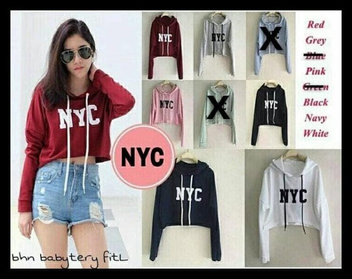 Jual New Crop Jaket Sweater Pendek Baju Wanita Hoodie Hoodi Jacket ... da20d148f0