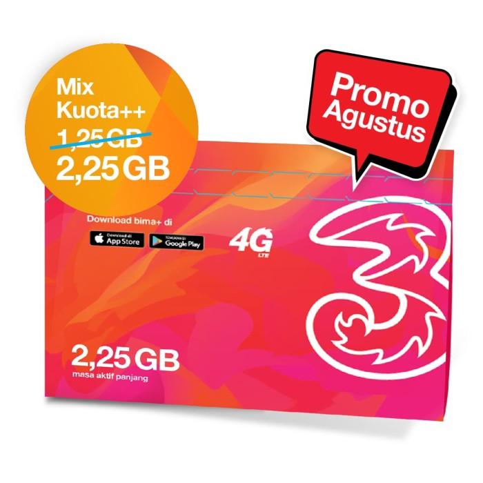 [promo] kartu perdana + paket data tri mix kuota++125gb