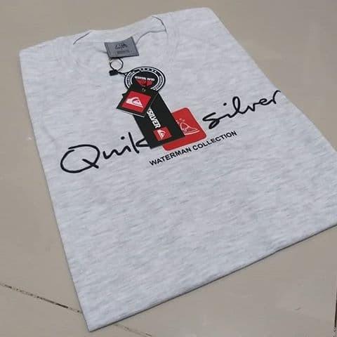 Kaos T-shirt Quicksilver Soft Grey Cotton Combed 30s Premium Pria - Abu-abu Muda, M