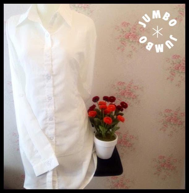 Murah Kemeja Blus Wanita Putih Polos Zara Lembut Body Panjang Jumbo .