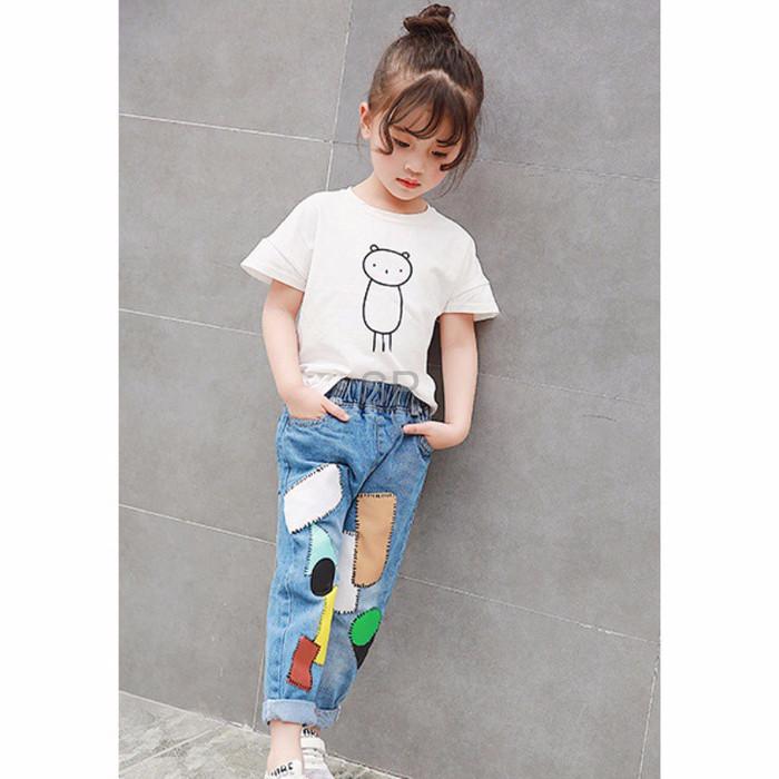 Import Celana Panjang Jeans Gaya Vintage untuk Anak Perempuan