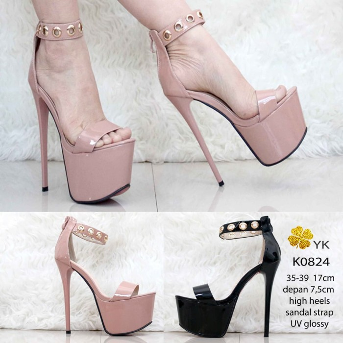 Ykshoes 0824 highheels strap shoes import hitam nude 17cm high heels
