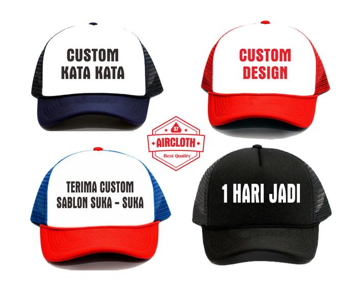 Topi Custom Murah Trucker Bebas Design Tulisan - 1 Warna polyflex PU 4b53624bf9